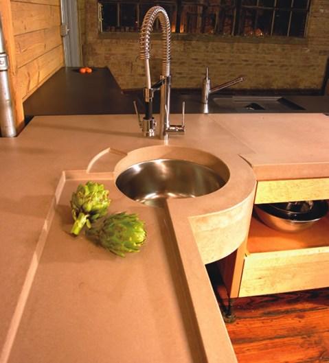 Тонированный бетон как материал для кухонной столешницы