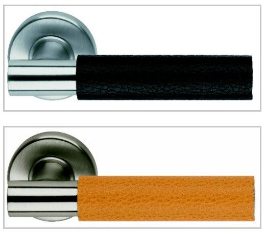 Дверная ручка, круглая металлическая, обтянутая кожей