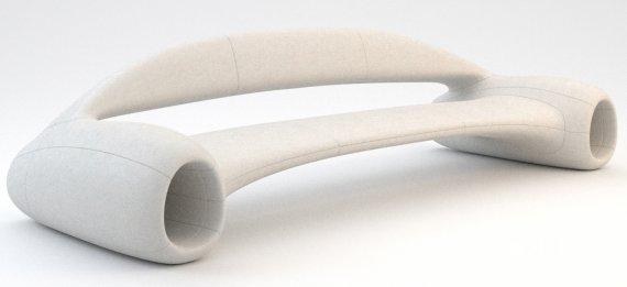 Белый диван из современных материалов