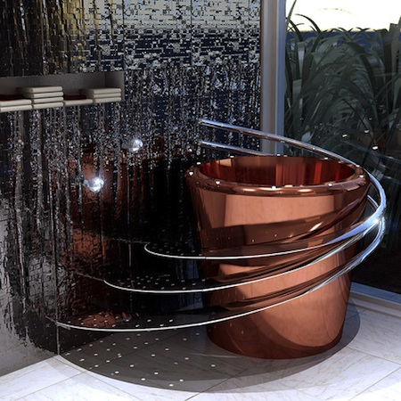 Железная глубокая японская ванна