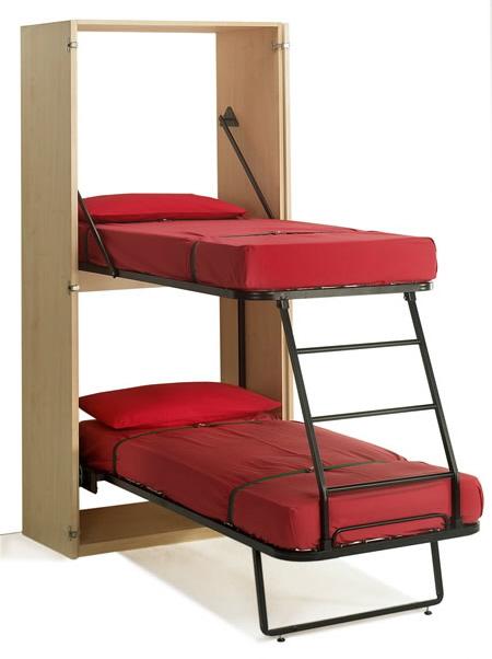 Раскладная 2-ярусная кровать-шкаф