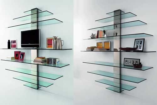Стеклянные стеллажи-полки для книг с большой полкой для телевизора