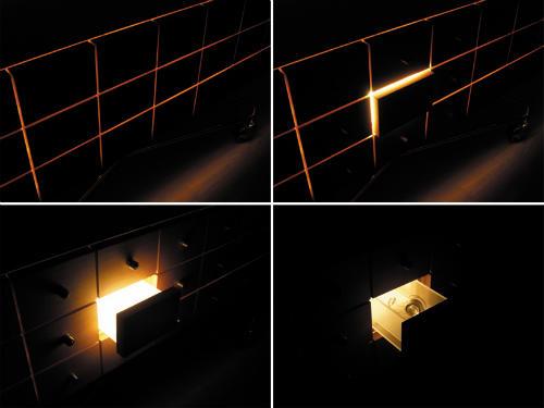 Стеллаж с ящиками светящимися изнутри