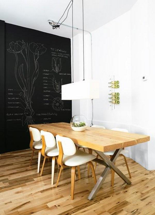 Стена на которой можно писать и рисовать мелом. что-то наподобии школьной доски. Каждый день разное оформление стен -- при желании.