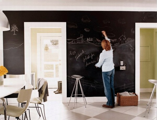 Стены оформлены черной доской, по которой можно писать мелом. Оригинальный интерьер.