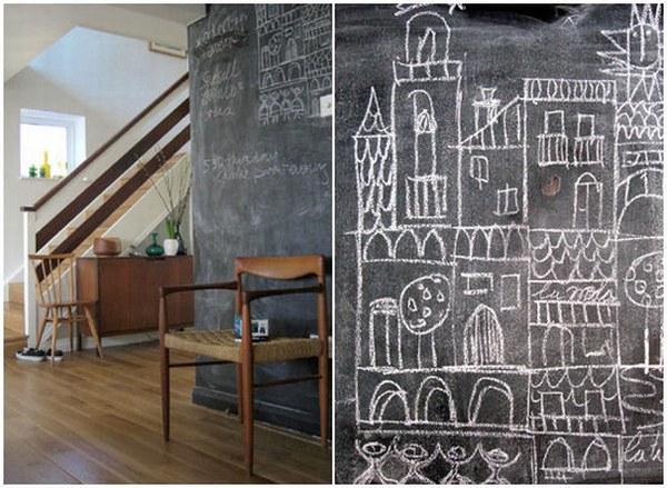 Школьные доски во всю стену, широкое поле для детского творческтва.