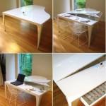 Белый стол по форме повторяющий рояль