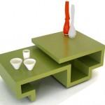 Зеленый стол оригинальной формы
