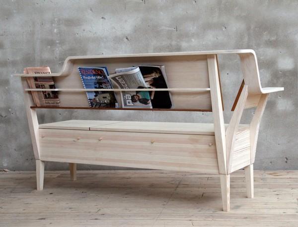 Деревянная скамья для кухни с ящиками