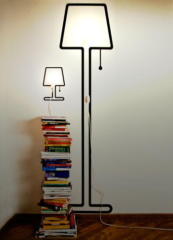 Оригинальные наклейки на стены в виде силуэтов различных предметов. Лампа. Торшер.