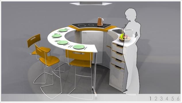 полукруглый обеденный стол фото