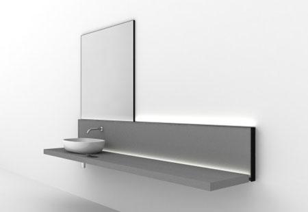 Раковина, полочка и зеркало в стиле минимализм