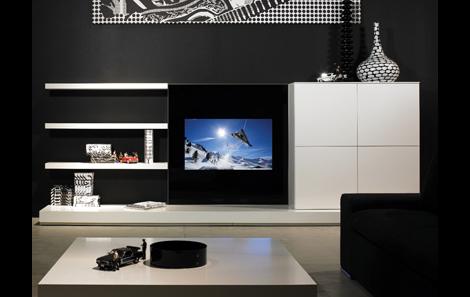 современная стойка по ТВ фото