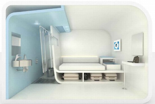 Модуль оснащен самой необходимой мебелью и сантехникой