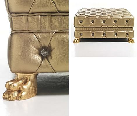Кожаный пуфик на ножках обтянутый золотистой кожей