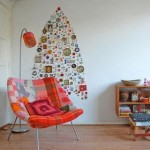 Украшееный силуэт новогодней елки на стене