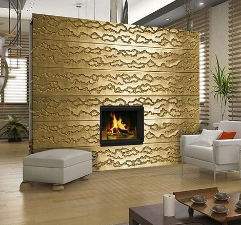 Декоративные панели на стены для оформления интерьера. Пример: стена с камином.