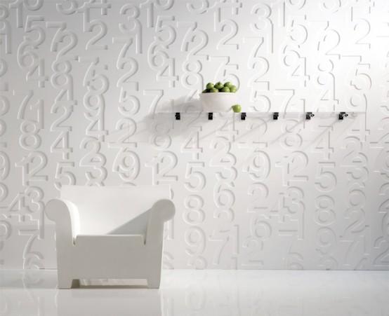 Декоративные фактурные панели для стен с оригинальным тиснением в виде цифр