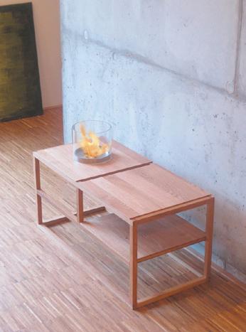 Журнальный столик со встроенным каминином. Безопасный и экологически безвредный.