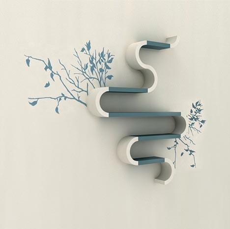 Настенные полки нестандартной формы в сочетании с наклейками на стены, стикерами.