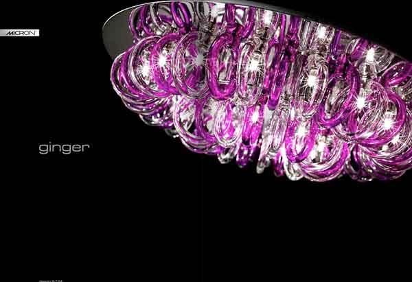 Люстра. Итальянский дизайн. Прозрачное и фиолетовое стекло.