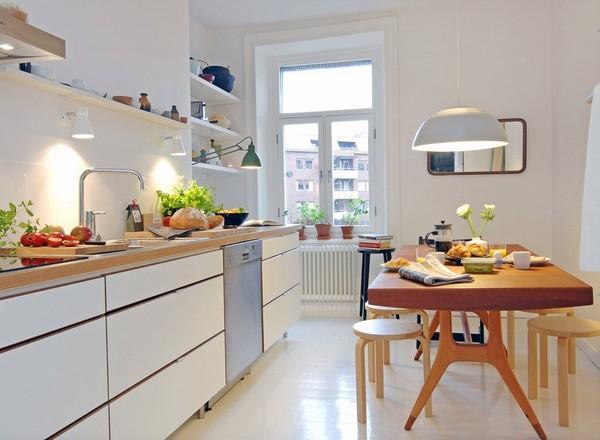 Дизайн кухни продолговатой формы