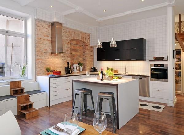 Дизайн кухни с высоким обеденным столом