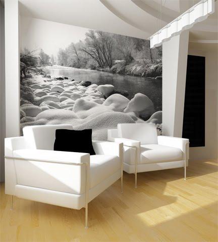 Широкоформатное фото на стене. Фотобои. Пейзаж зимняя речка.