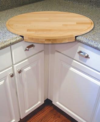 Разделочная доска круглой формы, легко крепится в углу столешницы