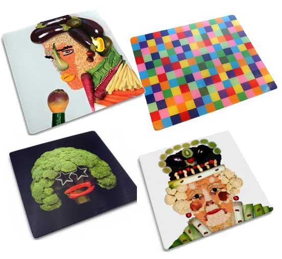 Разделочные доски с овощными портретами.