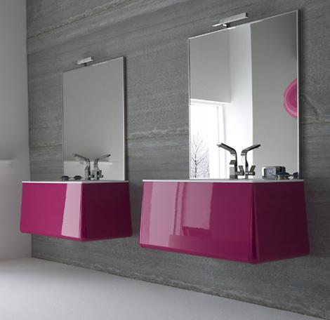 Мебель для ванной яркой расцветки. Оригинальная форма и материалы