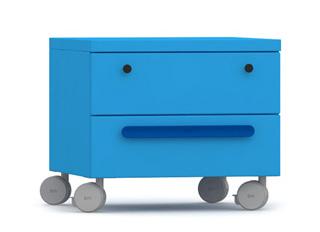Комод для детской комнаты голубого цвета на колесах