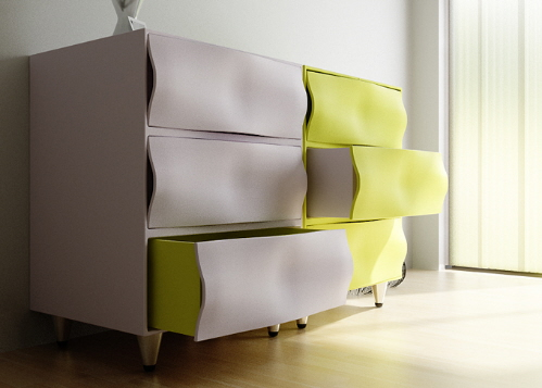 Двухцветный комод с изогнутыми ящиками