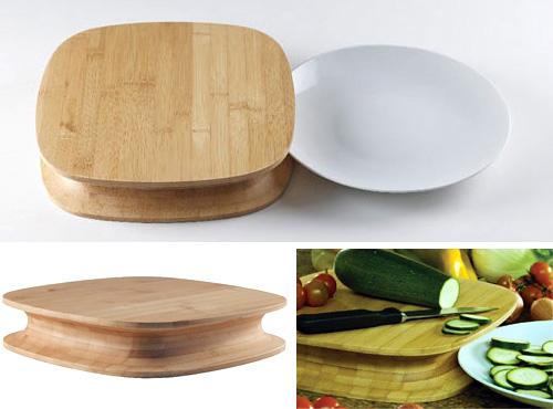 Разделочная доска с выемкой, чтобы удобнее пододвигать тарелку