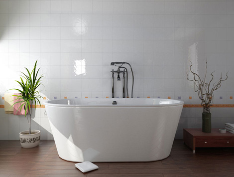 Дизайн ванной комнаты. Плитка пока ещё белая. Кстати, тоже неплохо смотрится. Высокая ванна.