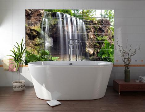 Фотообои водопада - отличное решение для оформления ванной комнаты.