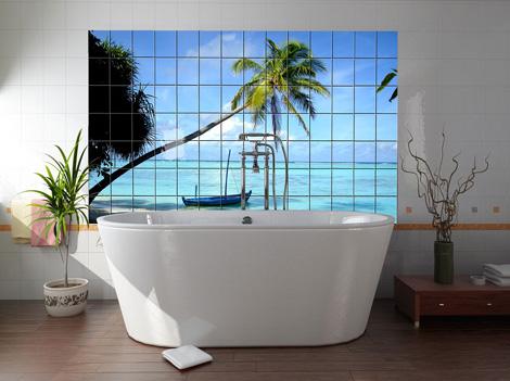 Фотобои тропических пейзажей. Ощути себя лежащим в морской лагуне, а не ванной.