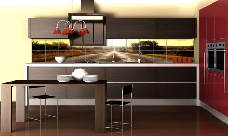 Печать на плитке. Отличное решение для оригинального и свежего дизайна кухни.