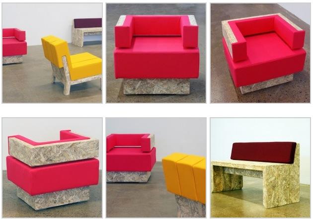 Набор мебели сделаной на заказ. Использована мягкая обивка и строительная пена. Шведская дизайн-студия.