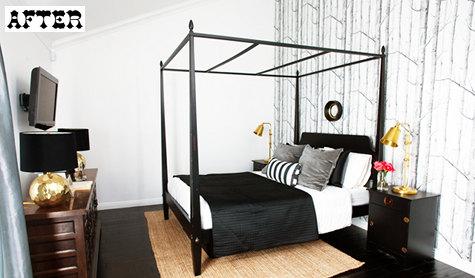 Спальня после переделки. Графичные черно белые обои фото.