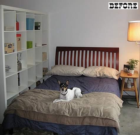 Кровать в спальне занимала почти всю маленькую комнату.