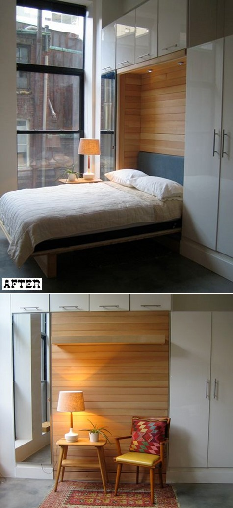 Откидная кровать шкаф своими руками установленная в спальне сэкономила пространство