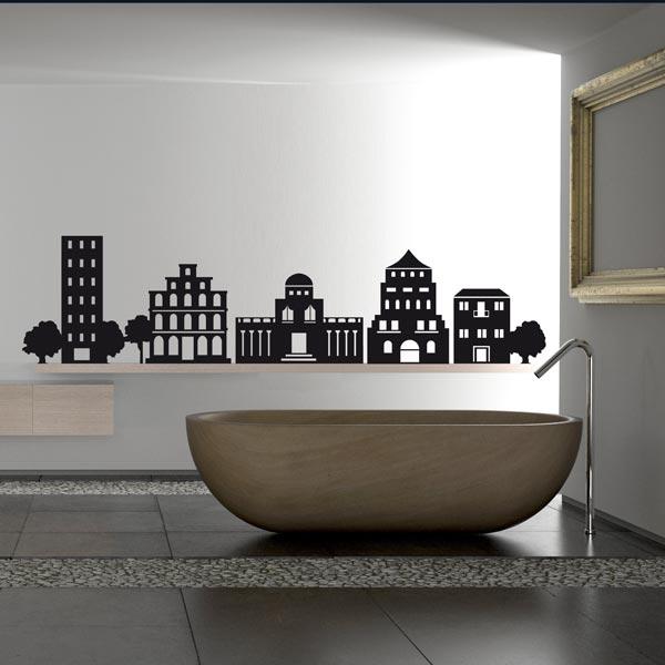 Стикеры для стен. Силуэт города.