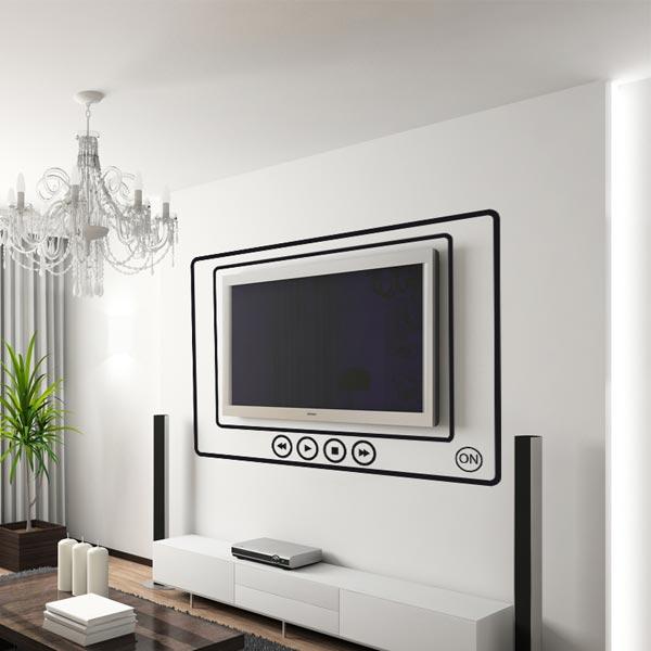 Наклейка для стен в виде огромного плеера с телевизором внутри.