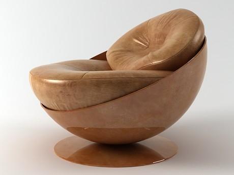 Домашнее кресло из натуральной кожи.