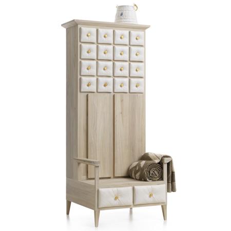 Мебель для кухни. Кухонный шкаф из светлого дерева с керамическими вставками