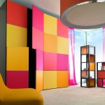 Шкаф с разноцветными дверцами. Молодежная мебель.