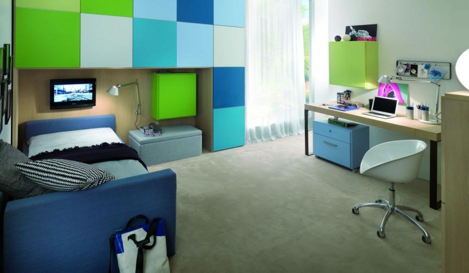 Комната подростка голубые и зеленые тона