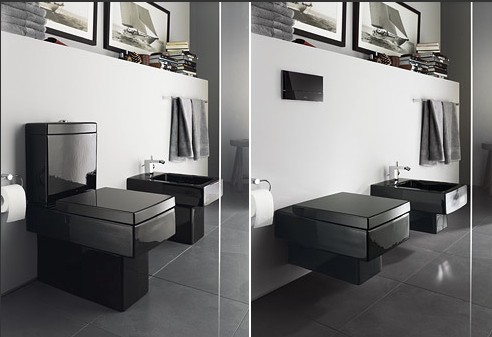 Итальянская сантехника квадратной формы, черного цвета.