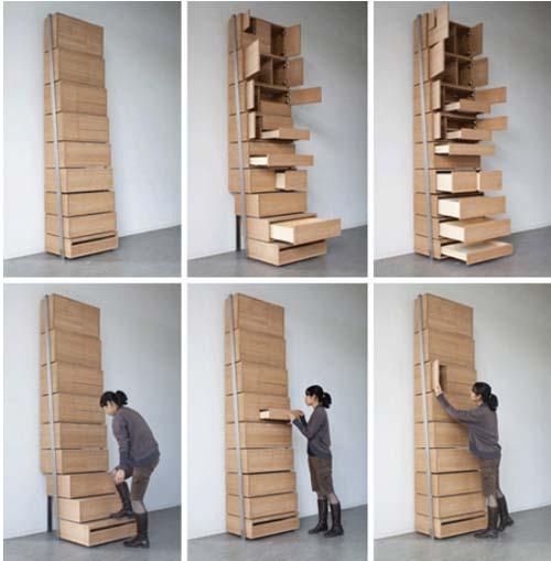 Высокий стеллаж с выдвижными ящиками